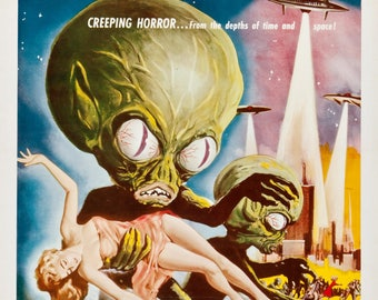 Invasion of the Saucer Men - retro horror movie poster print 11x17