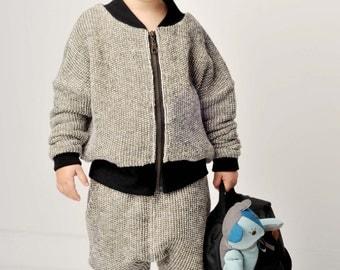 knitted organic cotton children bomber jacket-Eco-friendly jacket-Everyday warm jacket- Child organic jacket-Comfortable toddler jacket