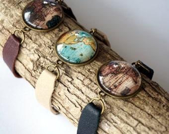 World Map Leather Bracelet - Globe Bracelet - Travel Gifts - Vintage Map Jewelry - Wanderlust Bracelet - Traveler Jewelry - Map of the World