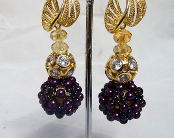 Quality Gutermann Purple Pearl with Gold accessories Earring  Jewellery