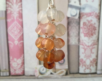 Natural carnelian necklace, cluster necklace, orange carnelian necklace, gemstone jewellery, orange jewellery, gift for her