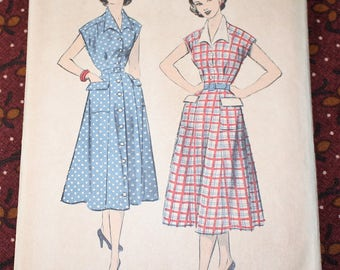 "1950's Original Vintage Sewing Pattern, Dress, Bust 34"", FF"