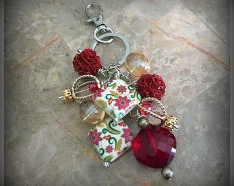 Red Cluster Of Beads Keychain, Beaded Keychain, Bag Accessories, Bag Charm, Keyring Charm, Beaded Purse Charm