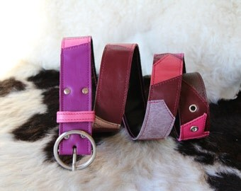 Purple and pink patchwork leather belt