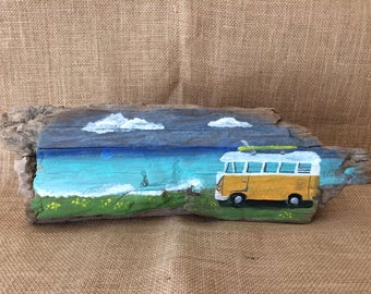 Volkswagen Campervan Painting on Drift Wood
