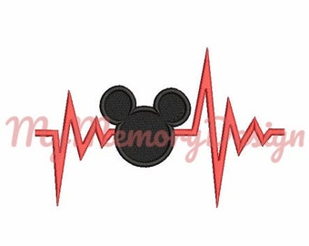 Heartbeat Embroidery Design  - Mouse head embroidery design - Machine embroidery  pattern - Instant download - 4x4 5x7
