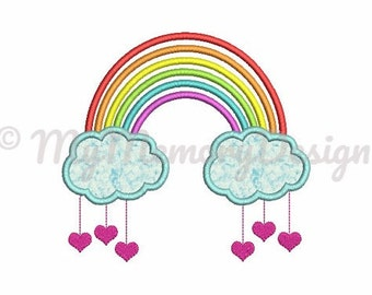 Rainbow embroidery design - Rainbow applique design - Cloud embroidery - Baby embroidery - Machine embroidery file - Instant Download 3 size