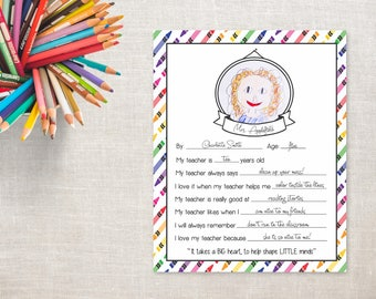 Crayons- All About My Teacher- Teacher Appreciation Printable- Digital File- Teacher Card- Drawing- Big Heart Little Minds Version