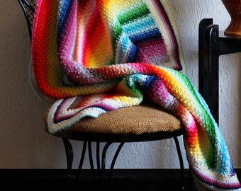 Small Vintage Rainbow Throw - Afghan for your feet