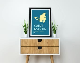 Saint Martin Map Print - Saint Martin Poster, Saint Martin Caribbean Island, Map Art Print, St. Martin art print, Caribbean Island Art