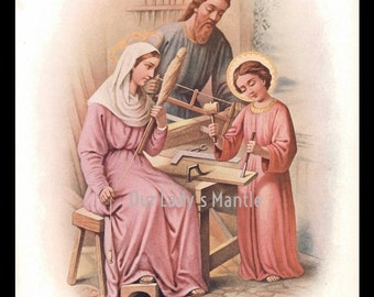 1906 Color Print- THE HOLY FAMILY - Jesus, Mary and Joseph
