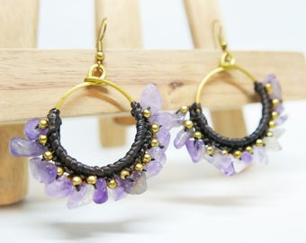 Violet Turquoise Chips Bronze Wire Beaded Dangle Drop Earrings Handmade Jewelry Brass Hook