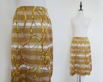 Brown Beige Belt Printed High Waist A-Line Vintage Midi Women Skirt