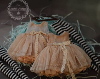 Hand Made Shabby Chic Old Dress with Leggings for Blythe/ Azone/ Momoko OMG A64