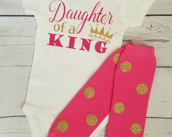 baby girl clothes religious baptism gift christening gift newborn girl gift baby shower gift leg warmers bodysuit daughter of a king new