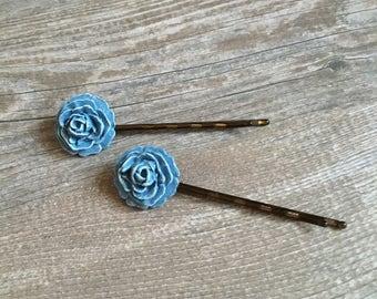 Blue Floral Hairpins - Hair Accessories, Hair Pins, Bobby Pins, Wedding Hair, Gifts For Her, Valentine Gifts, Bridal Hair, Up-Do Accessories