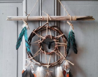 Dream catcher Woods, dreamcatcher, head of Buffalo, Native American, ethnic, skull, style wall decoration, circle of branches and bamboo