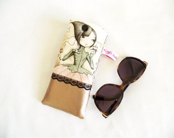 Case glasses retro girl and butterflies in faux leather Golden, beige cotton printed retro girl and butterflies and fine