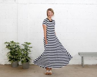 black and white stripes maxi woman dress, stripes dress, short sleeves dress, maxi dress