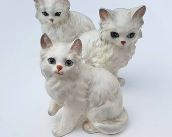 Lefton Kitty Cat Figurines - White Persian Cats - Single Lady (or Lad) Gifts