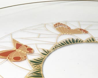 Mid-Century Culver Glass Butterfly 22kt Serving Tray / Platter/ Cake Plate