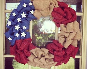 Red White Blue Patriotic  Wreath