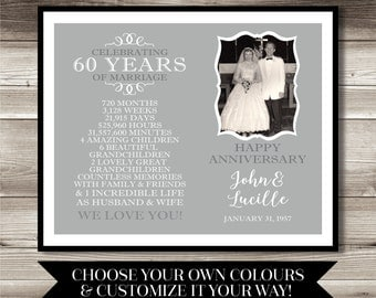 Gift Ideas 60th Wedding Anniversary Grandparents : Anniversary Photo Gift; Digital print; 60th Anniversary; present; gift ...