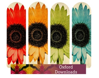 Sunflower Printable Bookmarks, Sunflower Gifts, Sunflower Photography, Printable Art, Book Gifts, Floral Art, Digital Download Photography