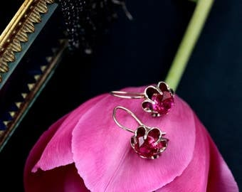Sterling silver ruby classic dangle earrings. Made in USSR.