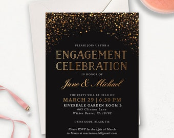 Modern Enagement Invitaiton Printable / Elegant Engagement Party Invites / Gold Glitter Printable Engagement Announcement