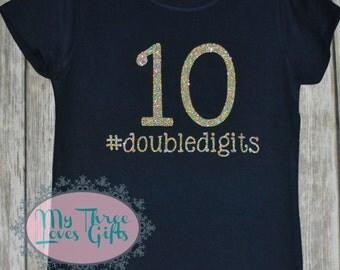 Tenth Birthday Glitter shirt, 10th birthday, hashtag, double digits birthday shirt, birthday party, #doubledigits tween, hashtag tee, custom
