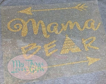Mama Bear Iron On Transfer Applique DIY Iron on decal iron on mama bear do it yourself tribal mom to be baby shower pregnancy gift HTV