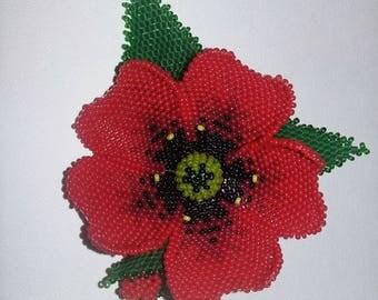 "Breastpin ""Scarlet poppy"""