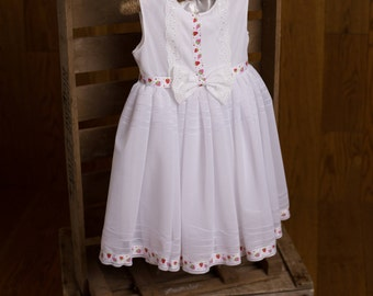 2-3 years Only! Vintage White Fully Lined Girls Dress with Strawberry Ribbon Trim Occasion Party Dress