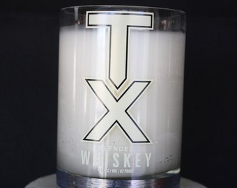 TX Whiskey Up-Cycled Liquor Bottle candle with Creme Brule' scent