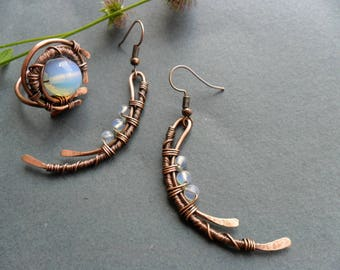 Hammered copper earrings, ring, Wire wrapped jewelry, Copper Jewelry sets, Opalite ring, Splash, Copper wire ring, Unique ring women, OOAK