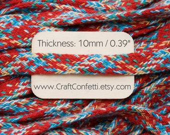 Flat cotton cord 10mm Red flat cord Multicolored cotton tape Braided rope  Tubular tape Decorative cord Shoelaces Tunnel without fillings