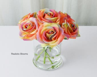 Rainbow, rose/roses, glass vase, faux water, acrylic, illusion, silk, Real Touch flowers, floral arrangement, centerpiece, home, decor, gift