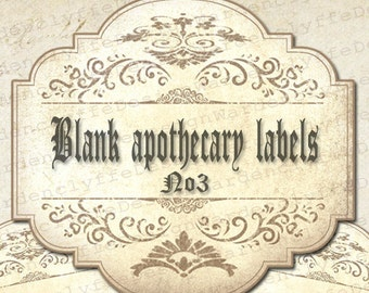 "Printable Blank Apothecary Labels No3,(3,5"" x 3,2"") Vintage Bottle-Jars Labels, Instant Download"