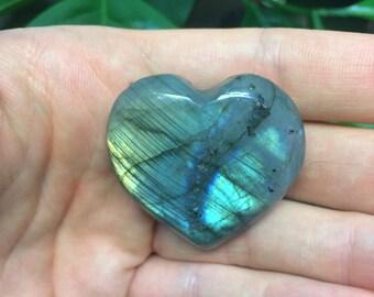 Labradorite Pocket Hearts - High Grade Labradorite with Multicolored Flash - Fairly Traded Gemstones and Healing Crystals