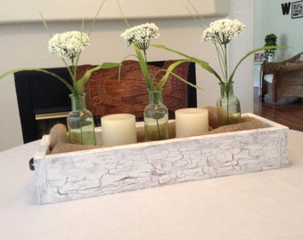 Wood Farmhouse Style Centerpiece Tray