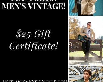 25 Dollar Let's Rock Men's Vintage Gift Certificate/ gifts/mens gifts/wedding/groom/gift card /mens clothes/mens vintage/mens clothing