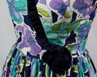 Vintage 80s Strapless Sweetheart Navy Floral Prom Dress Size S
