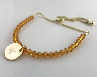 Topaz Bracelet -Love Bracelet -Personalised Bracelet -Gold Bracelet -Adjustable Bracelet -Birthstone Bracelet -Handmade Bracelet -UK shop