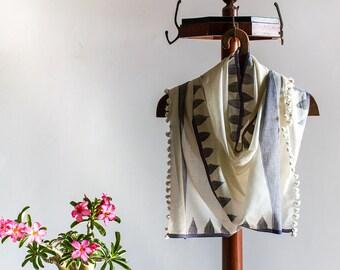 Scarf - Handloom Khadi Cotton - Jamdani | Temples