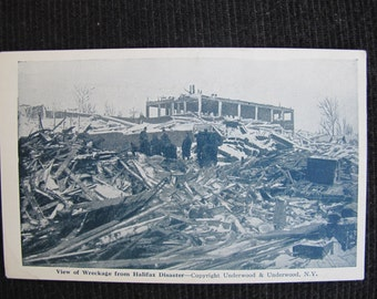 View of wreckage from Halifax Disaster / Halifax disaster postcard / 1917 maritime explosion / Underwood & Underwood