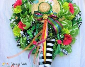 Deco Mesh St Patricks Day Character Wreath, Saint Patrick's Day Irish Girl Wreath, St Patty's Day Wreath, St Patrick's Day Rainbow Wreath