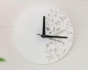 NEW! Glass wall clock - White wall clock - Floral wall clock - Organic glass clock - Living room clock - Round wall clock - House wall decor