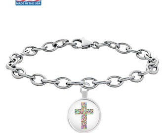 Colorful MOSAIC CROSS - Silver Charm Bracelet - Christian Jewelry - Faith Gift - Made in the USA