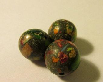 Round Rainbow Sea Sediment Jasper Beads, 11mm, Set of 3
